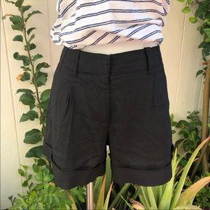 THEORY Linen Blend Black Shorts